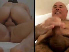 Couple fucking, man wanking