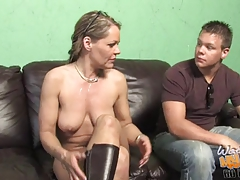 Super cougar Kelly Leigh owned by BBC if front of son