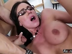 MILF teacher fucked on school desk HD