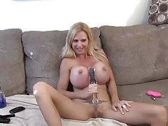 Huge titted milf masturbates with various toys
