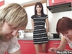 threesome on the kitchen