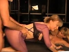 Nina Hartley and her friend fuck lucky guy
