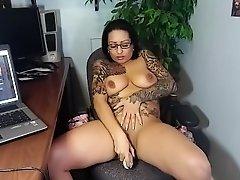 Latina Bombshell Masturbates In Office With Dildo!