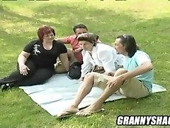 Marie mature outside having sex.