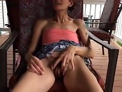 skinny wife lifting dress and playing with her hairy pussy