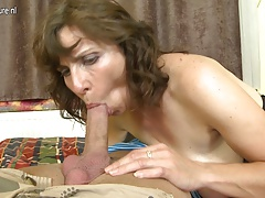 Hairy mom fucking her son's best friend