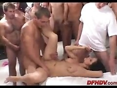 Single bitch gangbanged by 50 guys