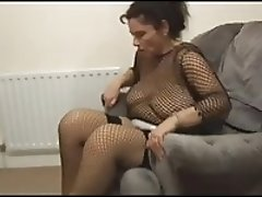 Busty hairy mature shows her body