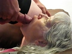 Tounge blowjob with open mouth cumshot and swallow
