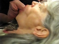 Mature blowjob with cum eating