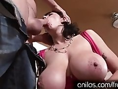 Jerk your hot cum load all over Alia Janines huge tits