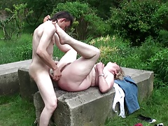 Mature Blonde BBW outdoor