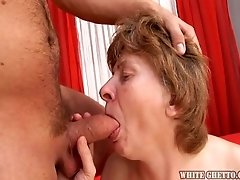 Horny granny with saggy tits fucked bad doggystyle