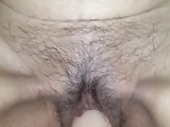 Japanese mature wife with hairy cunt swallows big dildo