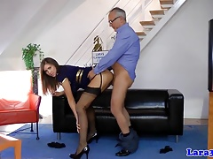 Uniform brit mature taking turns doggystyling