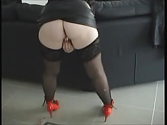 Sexylegs black leather mini skirt and her vibrator