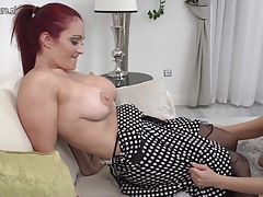 Naughty busty mom at taboo lesbian sex with daughter