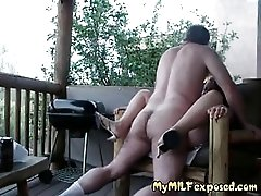 My MILF exposed - fucking my plumpy mature slut outdoors